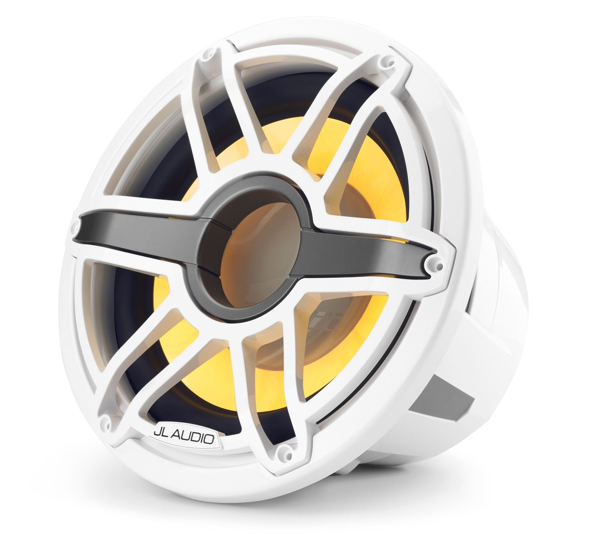 Front of M7-12IB-S-GwGw-i-4 Marine Subwoofer Facing Left lit in Yellow