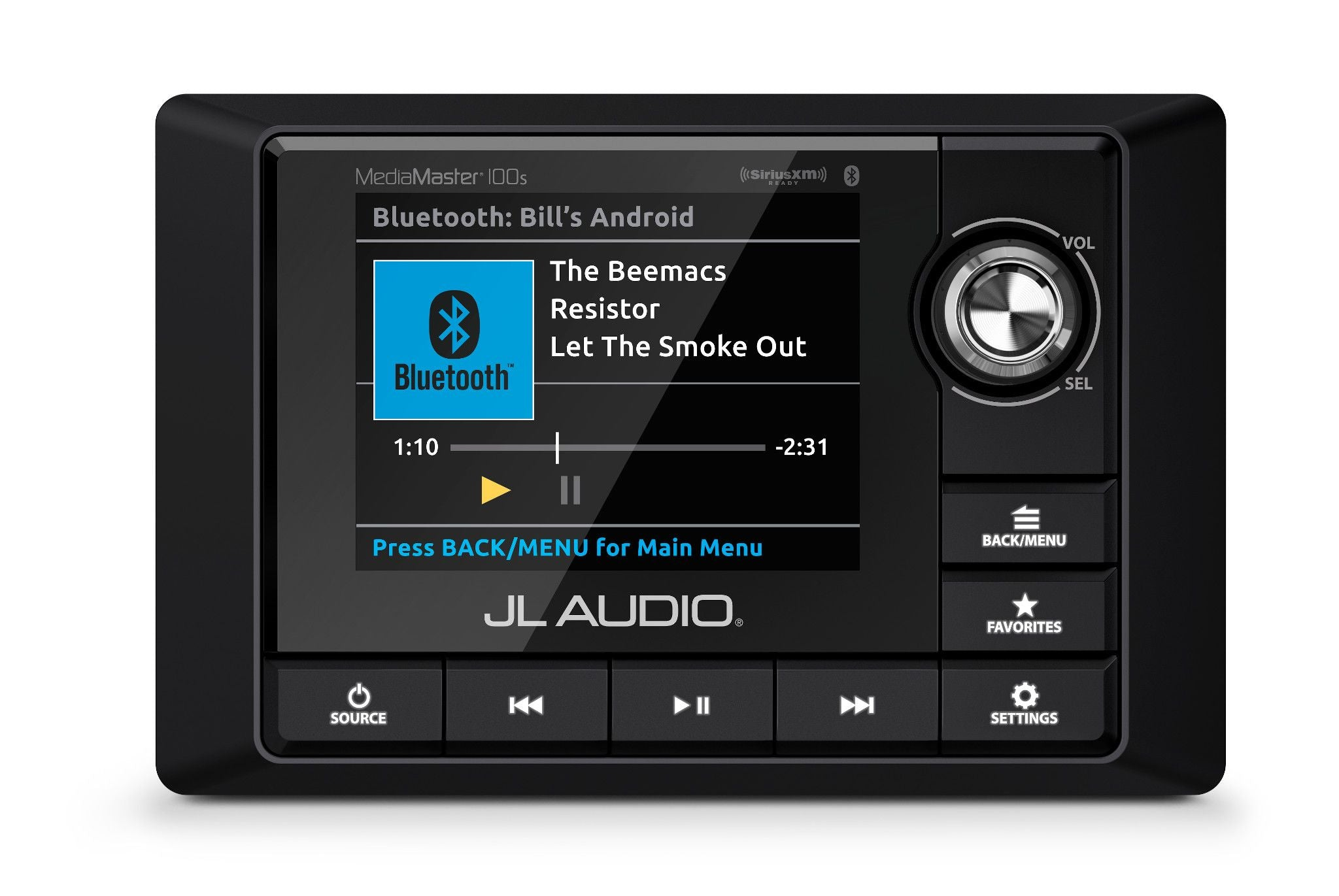 Front of MM100s Source Unit Straight On Displaying Bluetooth Source Screen