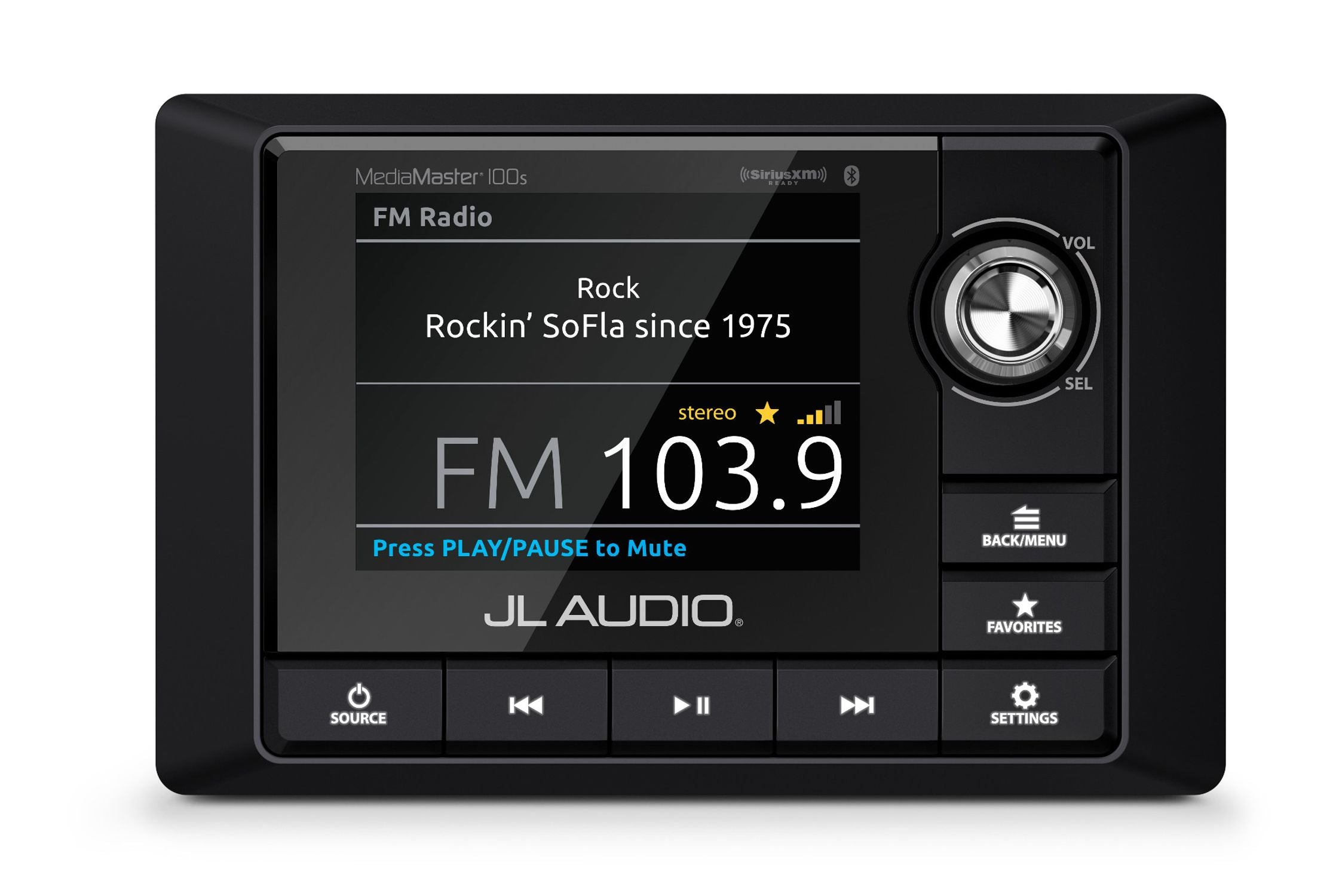 Front of MM100s Source Unit Straight On Displaying FM Radio Source Screen