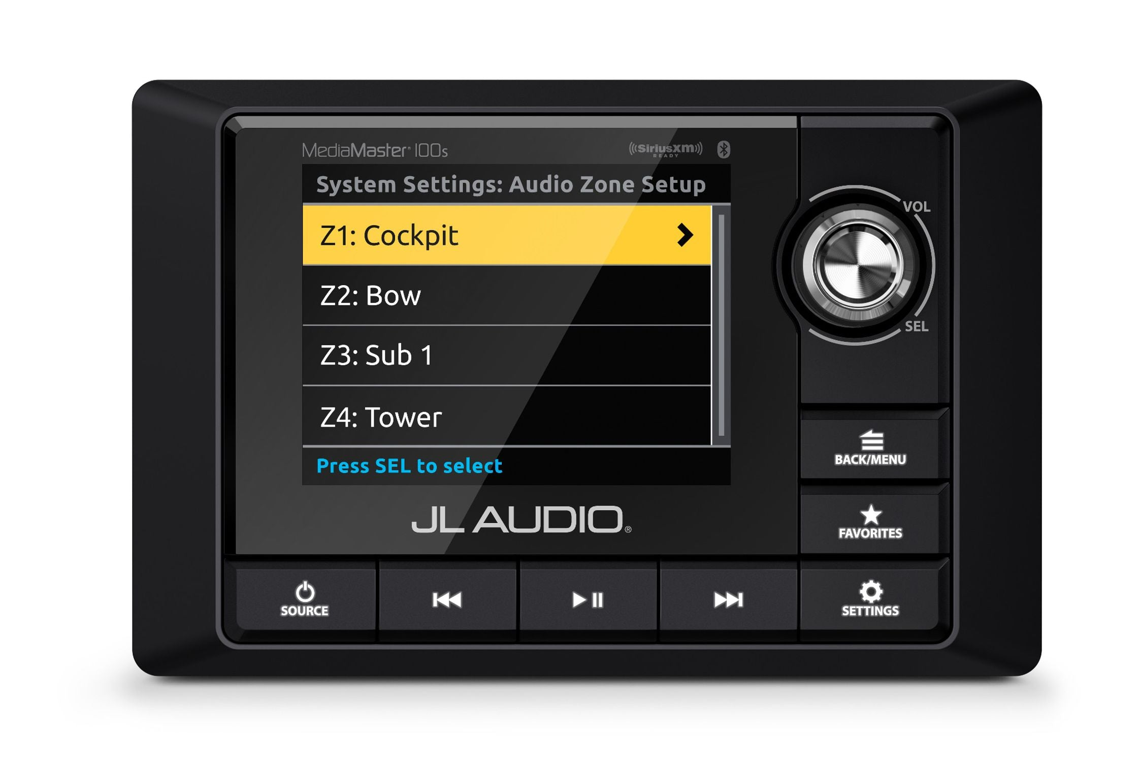 Front of MM100s Source Unit Straight On Displaying Audio Zone Setup Screen