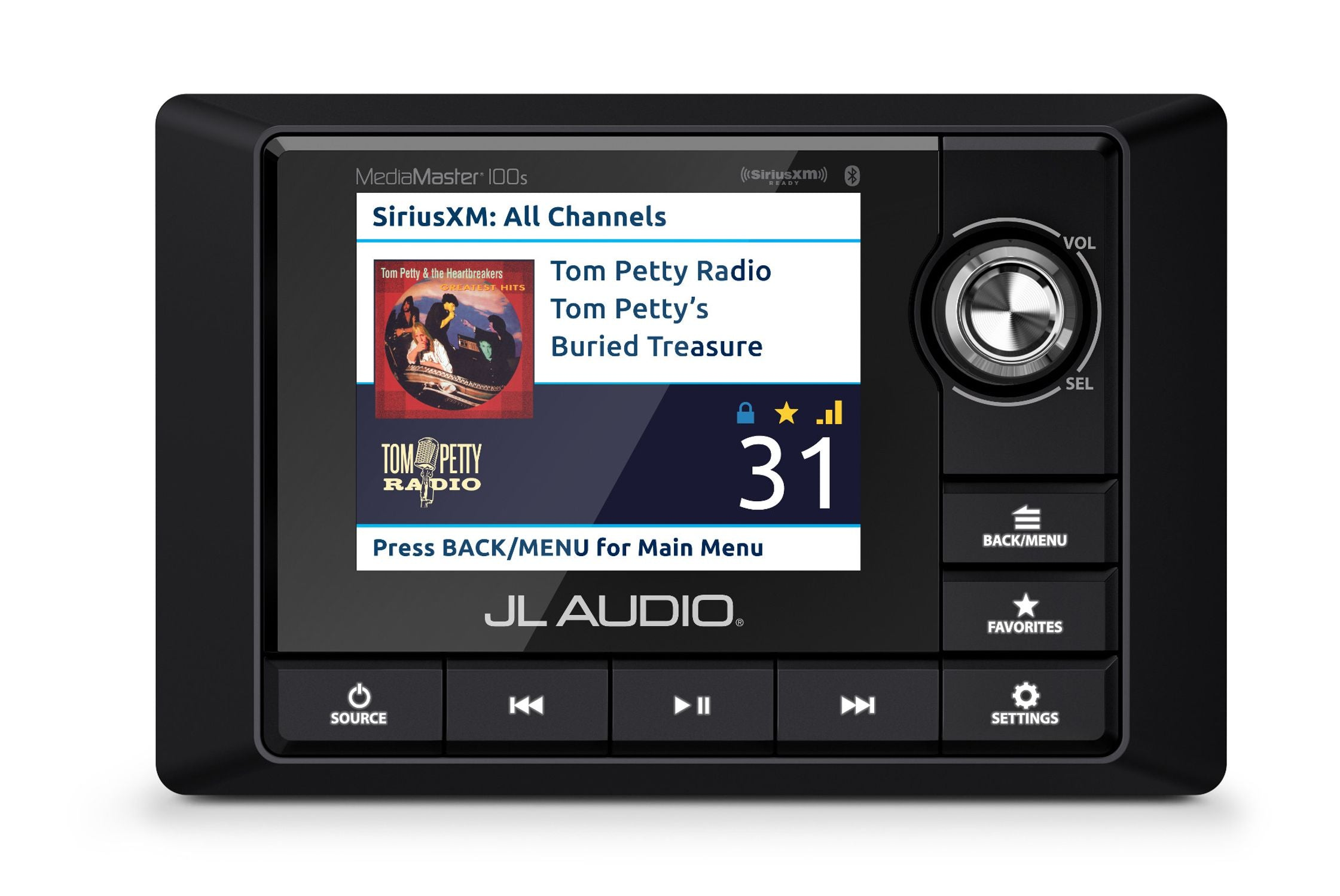 Front of MM100s Source Unit Straight On Displaying Sirius XM Radio Source Screen in Day Mode