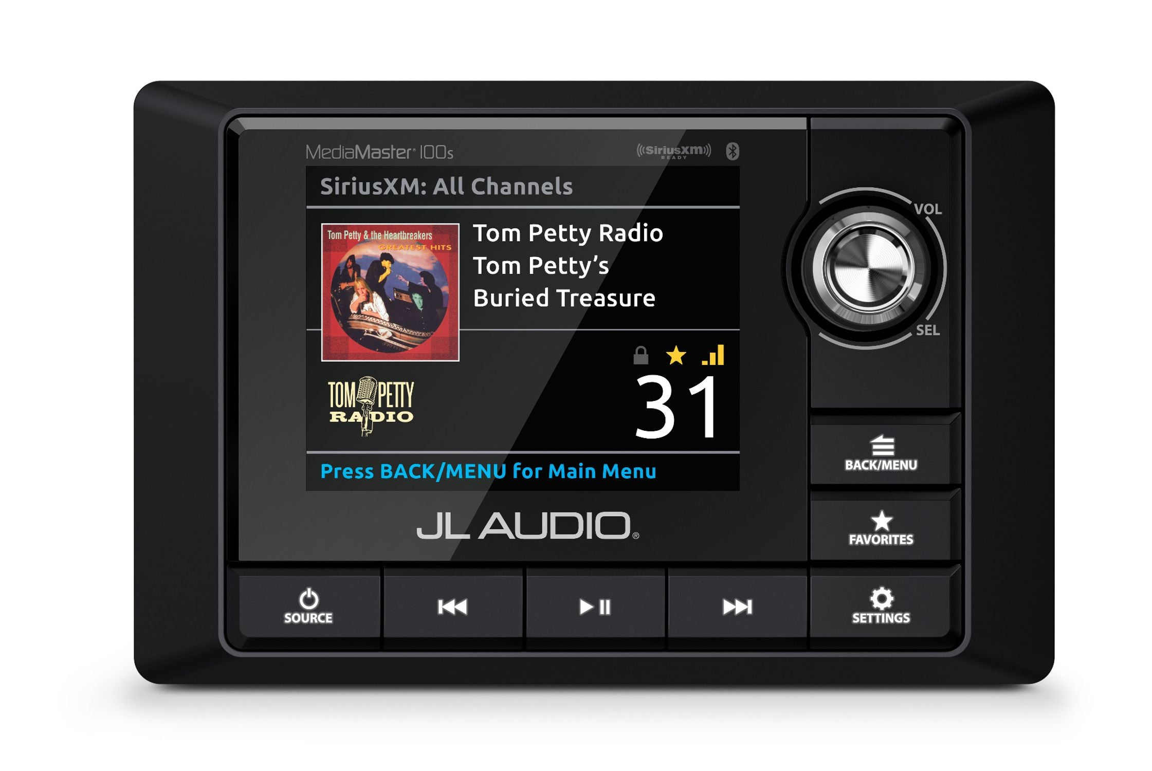 Front of MM100s Source Unit Straight On Displaying Sirius XM Radio Source Screen