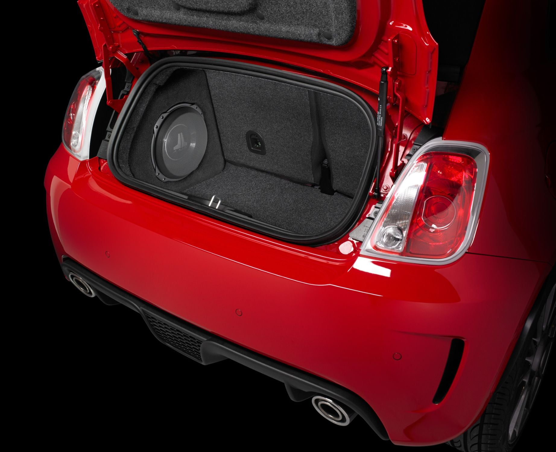 SB-FIAT-500-10TW3 Stealthbox Installed in Vehicle