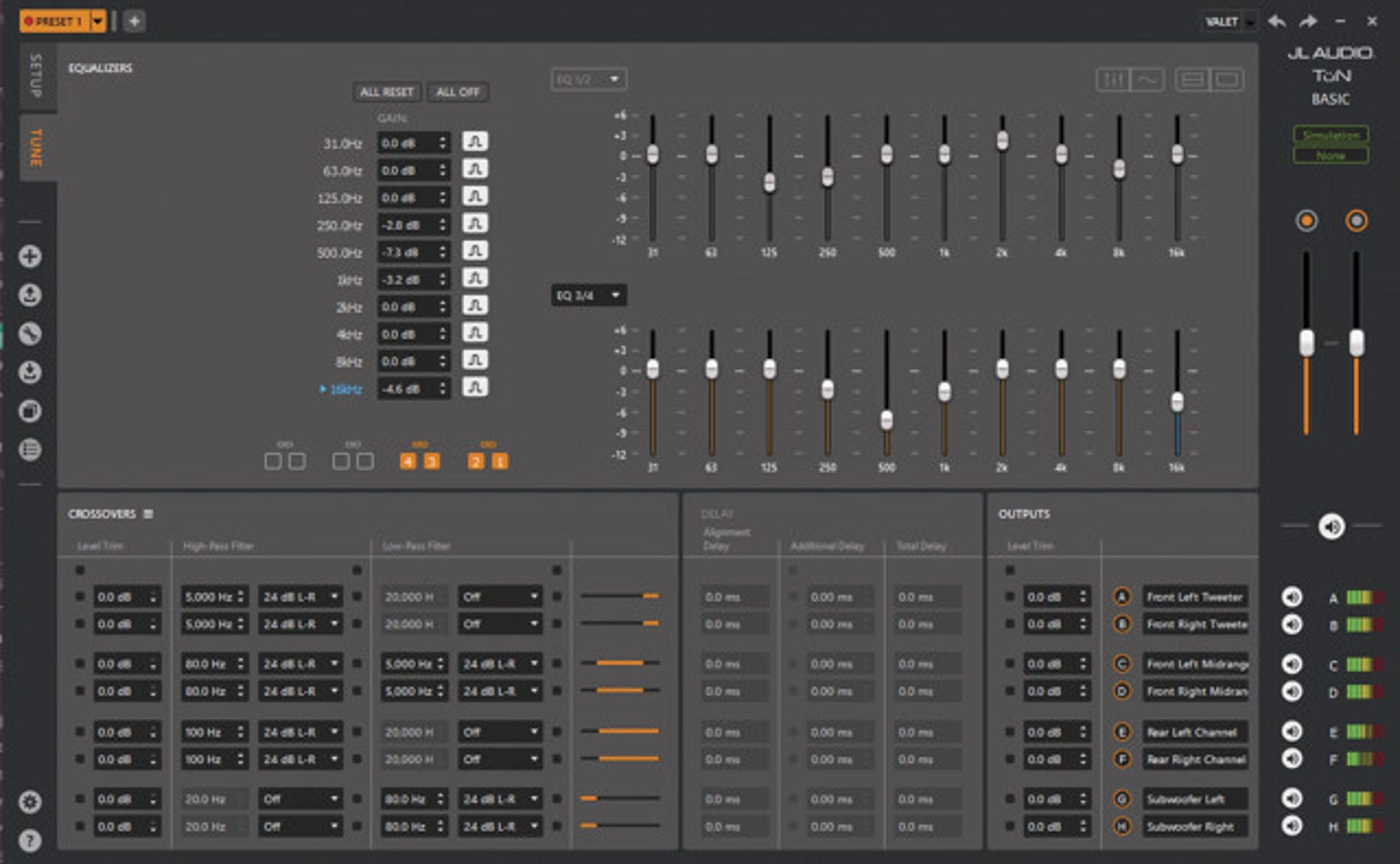 Screen Shot of the User Interface of TüN Software in Basic Tuning Mode