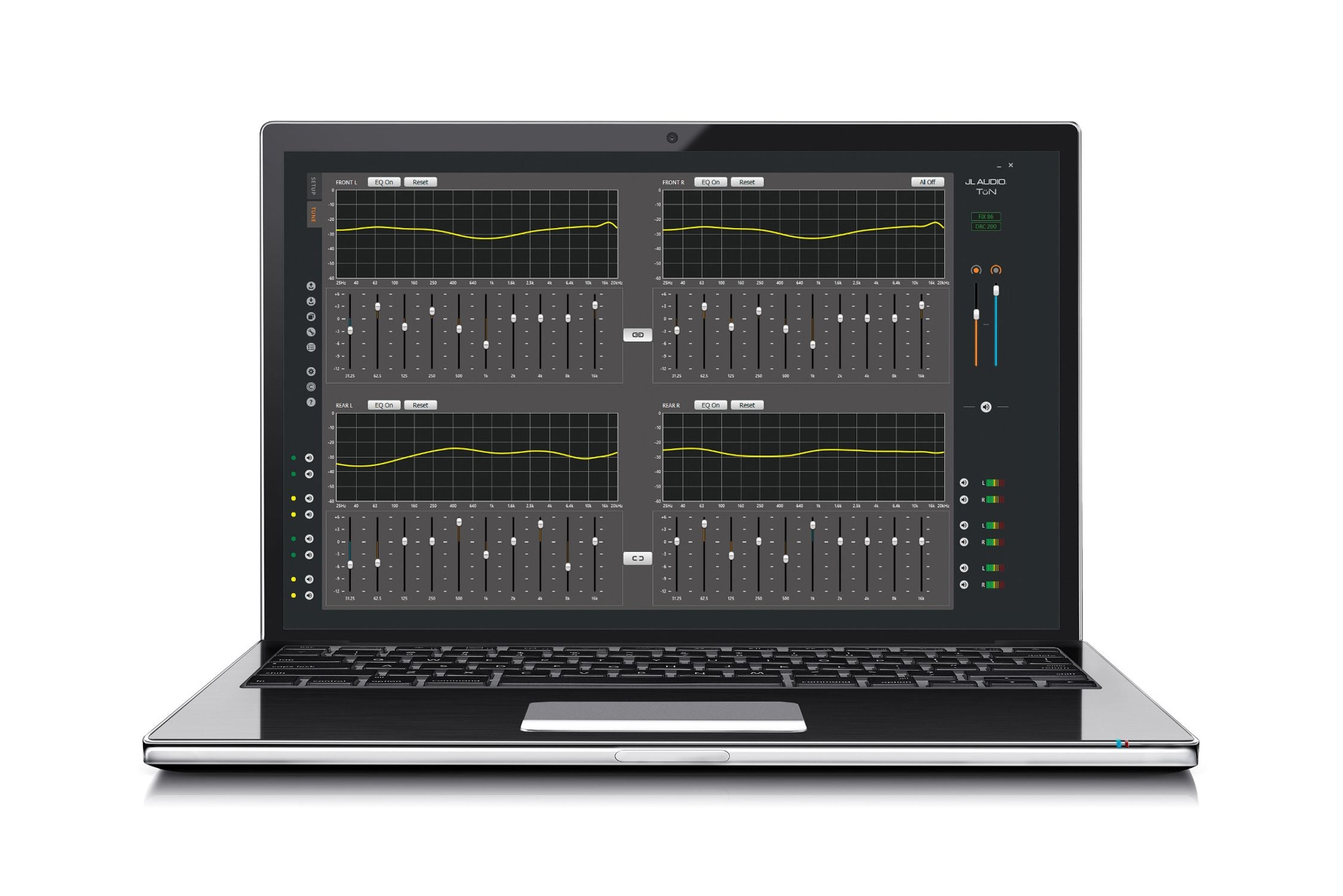 Laptop showing the Tune Window in TüN Software for FiX-86