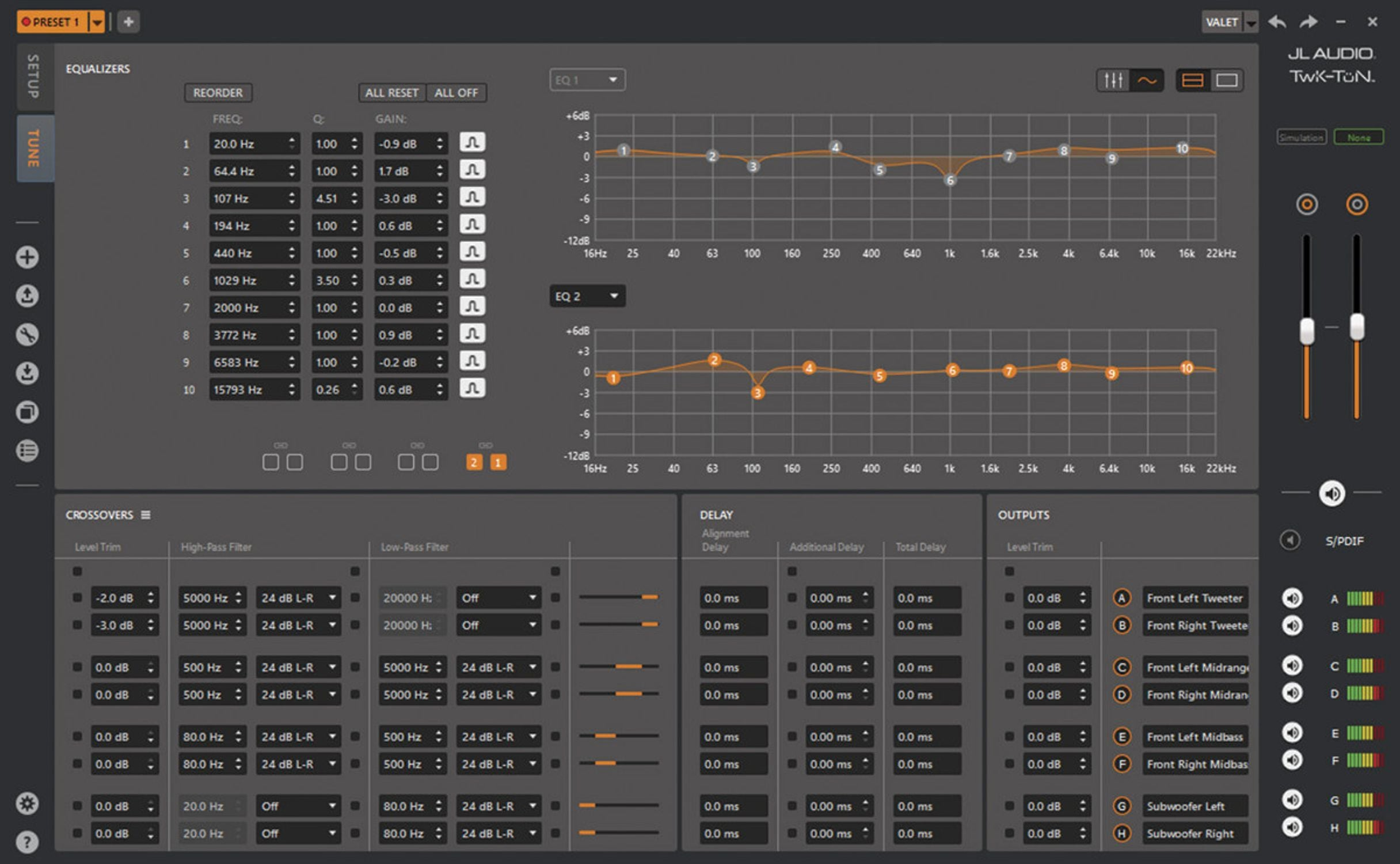 Screen Shot of Setting EQ in TüN Software