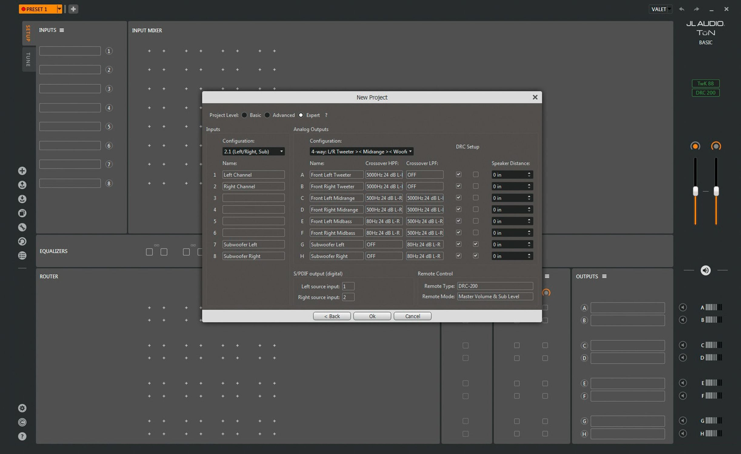 Screen Shot of the New Project Window in TüN Software