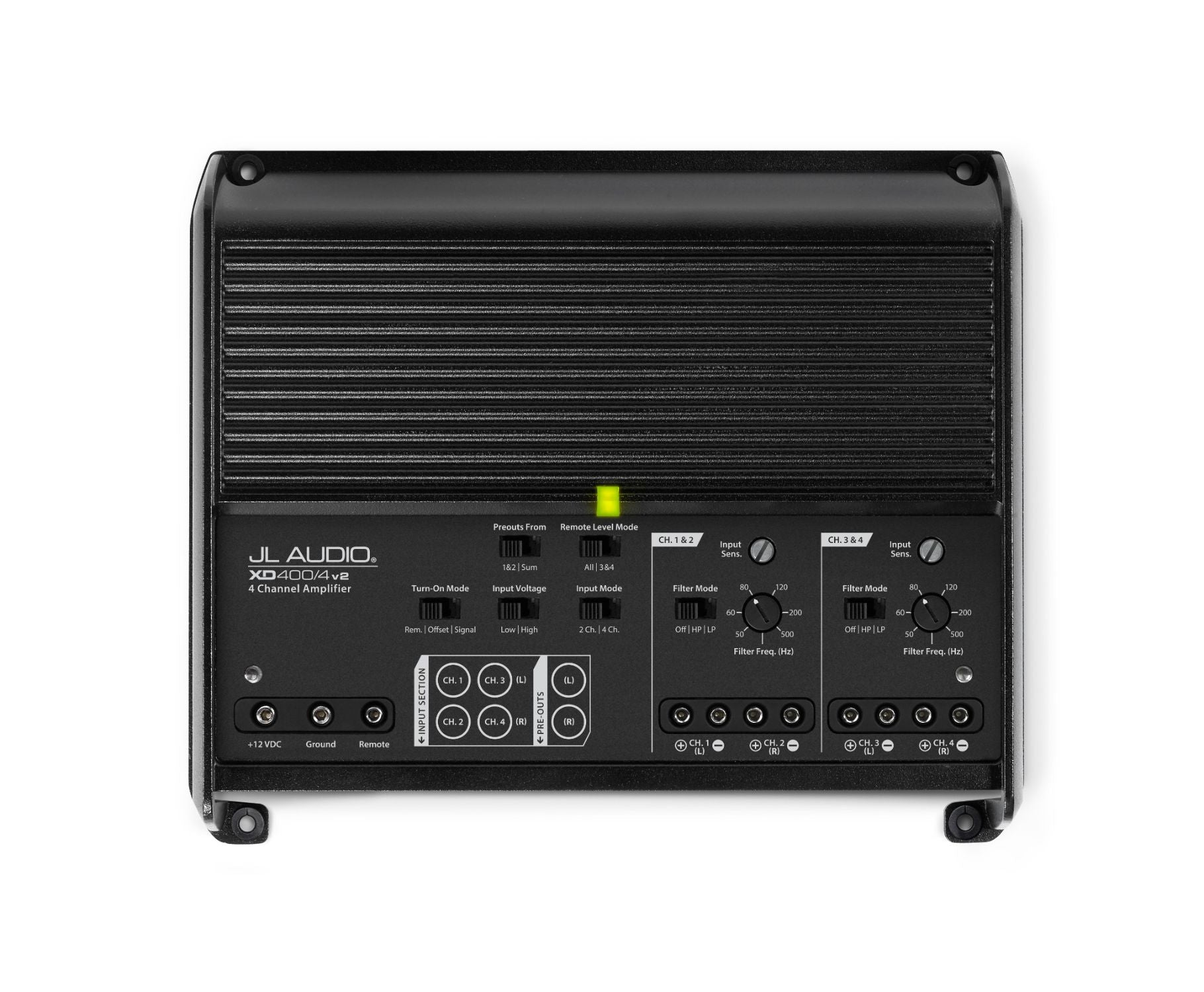 Front of XD400-4v2 Amplifier Overhead showing Control Panel