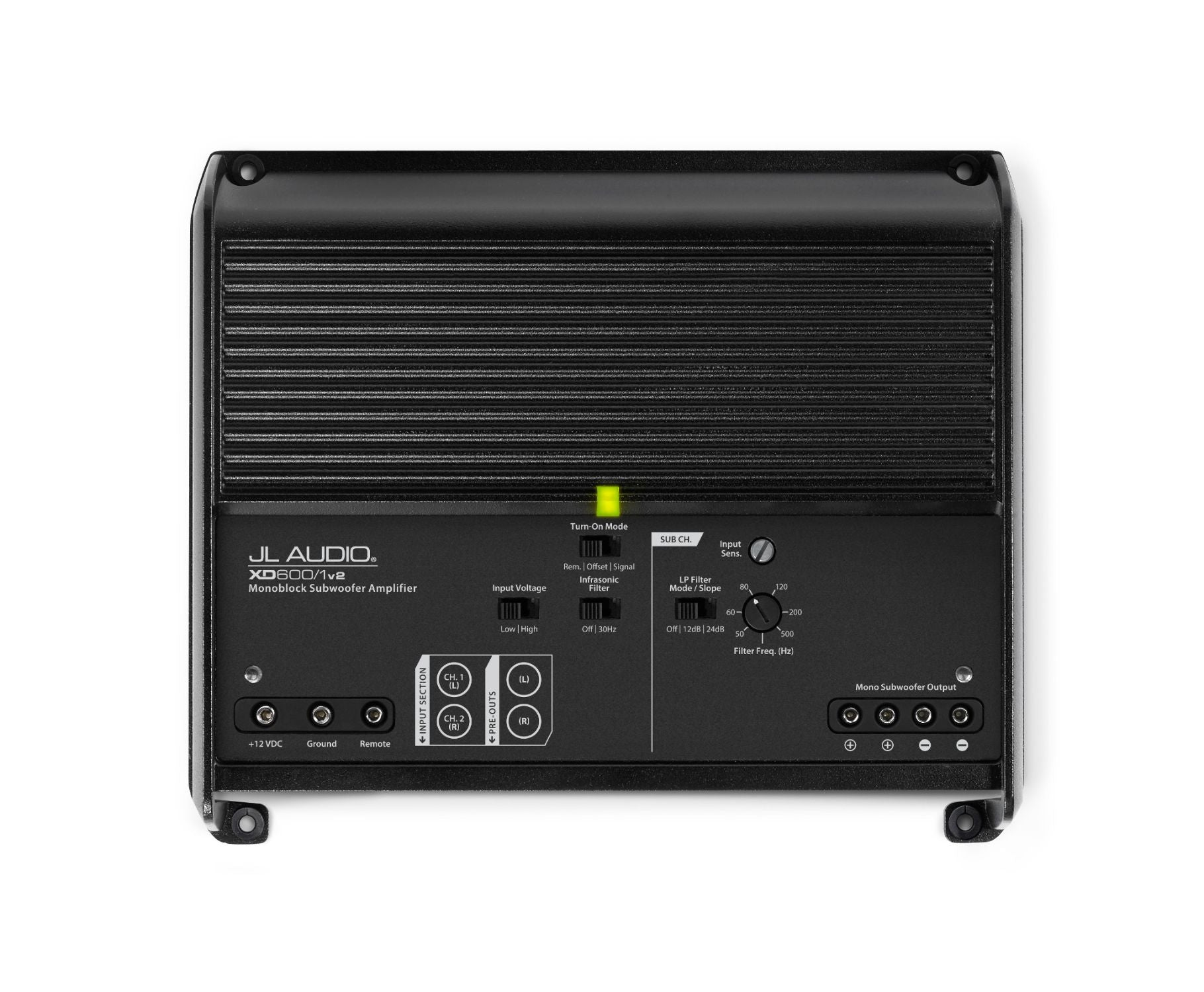 Front of XD600/1v2 Amplifier Overhead showing Control Panel