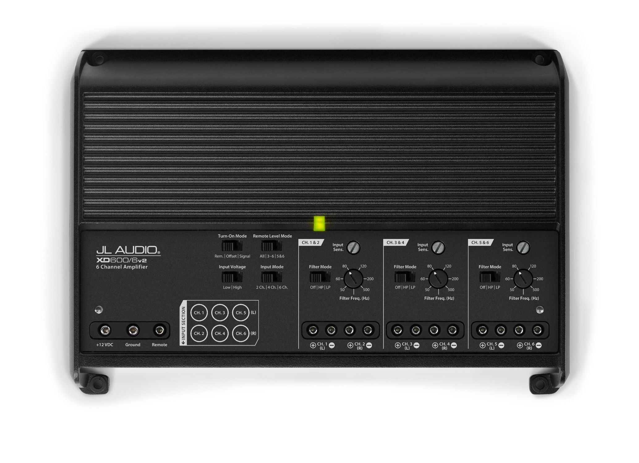 Front of XD600/6v2 Amplifier Overhead showing Control Panel