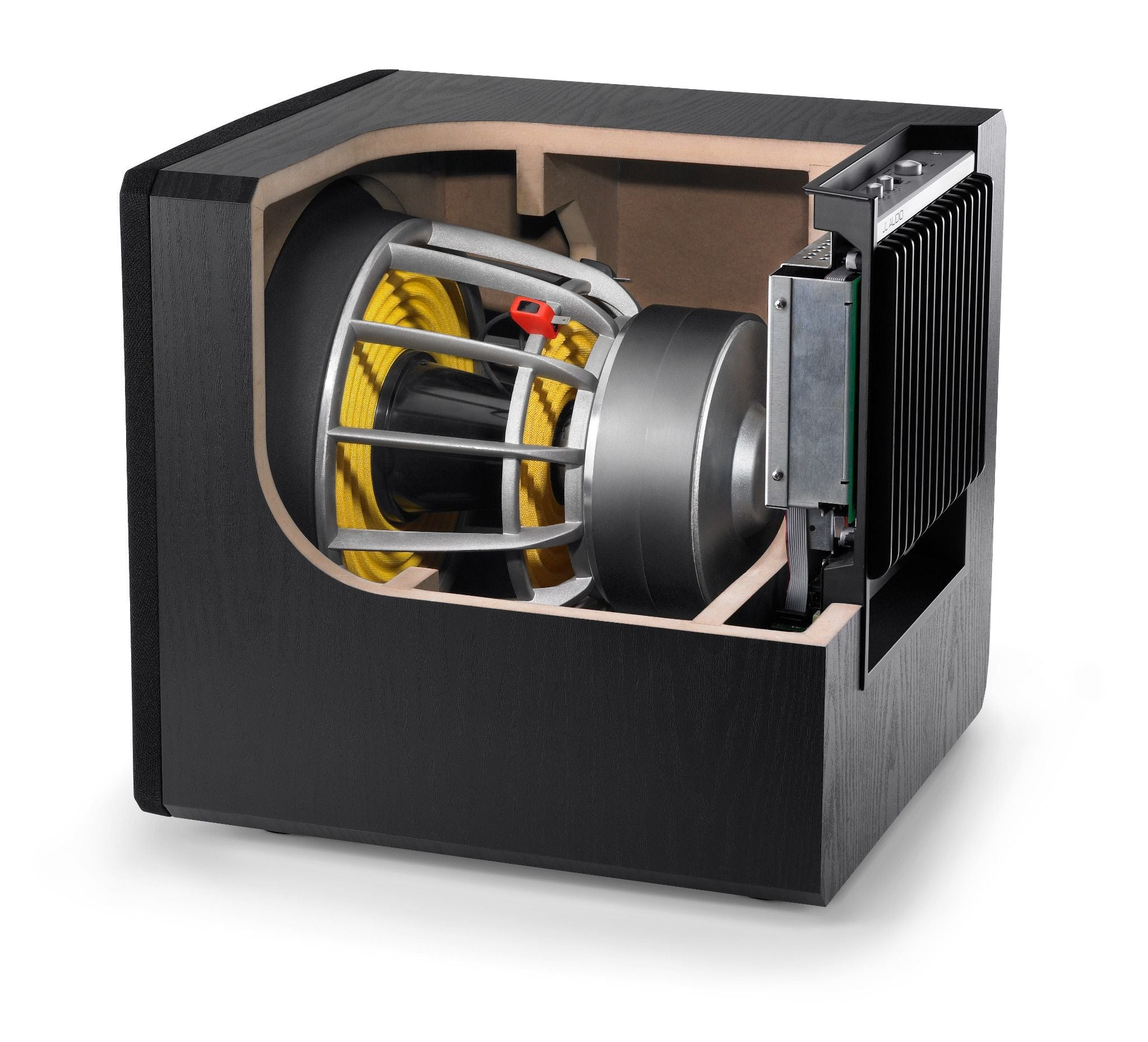 Cutaway of e112 Subwoofer Showing Subwoofer and Internal Bracing