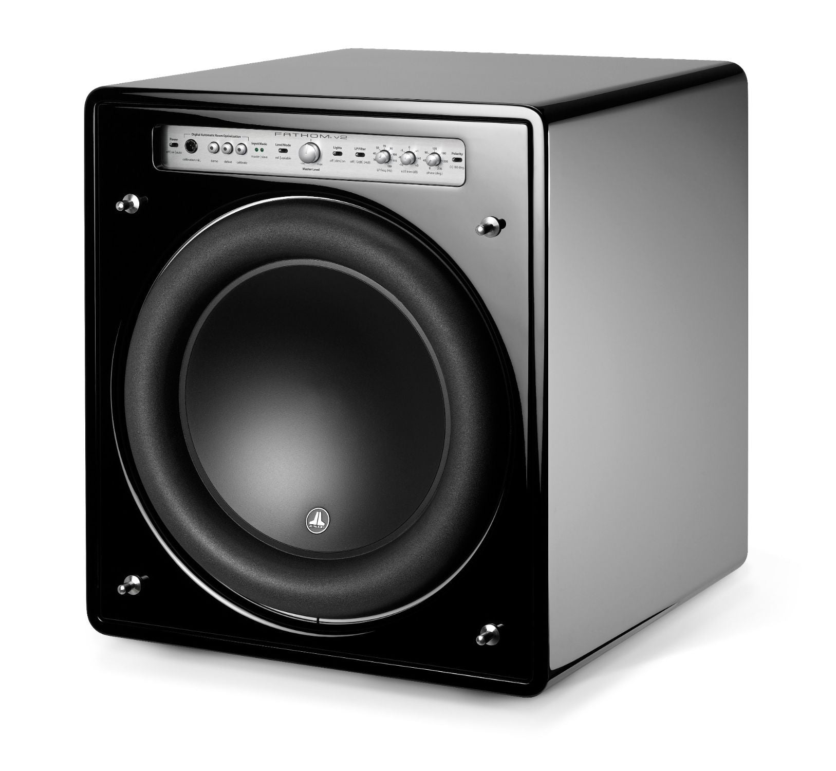 Front of f113v2 Subwoofer Facing Left