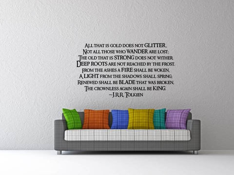 Complete Aragorn's Poem Wall Art