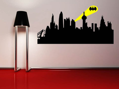 Batman gotham city skyline wall art