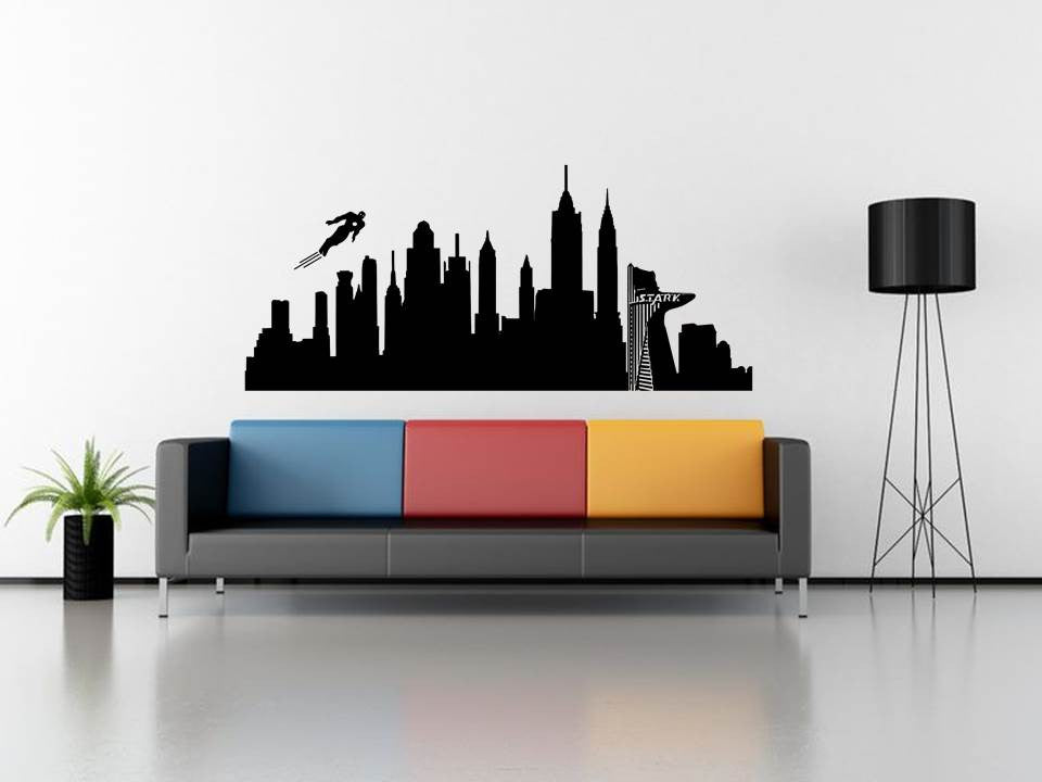 Iron Man Manhattan Skyline with Stark Towers Wall Art