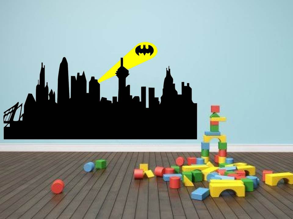 Gotham City Batman City Skyline Buildings Vinyl Wall