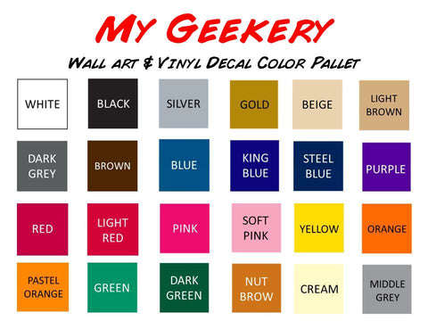 MyGeekery Geeky Vinyl Decal Colors
