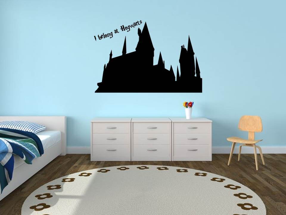 I Belong at Hogwarts Wall Art ... & Hogwarts silhouette wall art | Harry Potter home decor | My Geekery