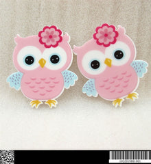 1 Piece -   NEW Light Pink Owl Flat Resin  - Approx.  1 1/2 inch