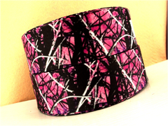 1 Yard 1.5 inch PINK BRANCH CAMOUFLAGE on Black ( THICK )  -  Printed Grosgrain Ribbon