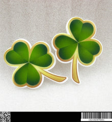 1 PIECE - Approx. 1.5 inches - Three Leaf Clover Green - St. Patricks - Flat Back Resin Accent