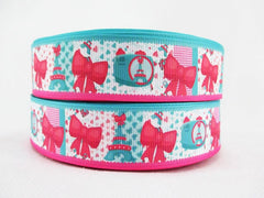 1 Yard 1 inch Eiffel Towers - Paris - Pink and Turquoise  - Printed Grosgrain Ribbon