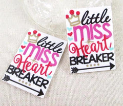 1 PIECE -  - Little Miss Heart Breaker Heartbreaker - APPROX. 1 3/4 INCHES by 1 1/4 inches  FLAT BACK RESIN ACCENT Flatback Planar