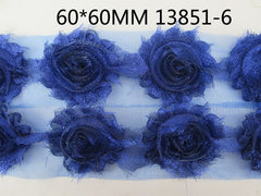 1 Piece  - Sparkle Bright Blue Shabby Chic, Frayed Flower, Vintage Look for Headband, Hairclip, Hairbow