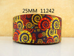 1 Yard 1 inch Kaleidoscope PATTERN 11242  -  Printed Grosgrain Ribbon