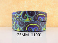 1 Yard 1 inch Kaleidoscope PATTERN 11901  -  Printed Grosgrain Ribbon