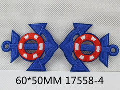 1 Piece - Embroidered Anchor Patch - Royal blue and Red  approx. 2 1/3 inches - resin - accent - center 17558-4