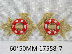 1 Piece - Embroidered Anchor Patch - Gold and Red  approx. 2 1/3 inches - resin - accent - center 17558-7