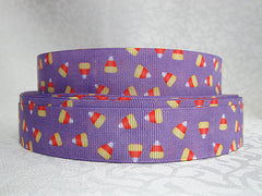 1 Yard 7/8 inch  - HALLOWEEN - CANDY CORN ON LIGHT PURPLE   - Printed Grosgrain Ribbon
