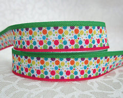 1 Yard 5/8 inch POLKA DOT PARTY - PINK AND GREEN BORDER - FOLD OVER ELASTIC