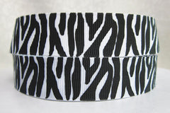1 Yard 7/8 inch  - BLACK ZEBRA ON WHITE - STYLE 250 -  Printed Grosgrain Ribbon