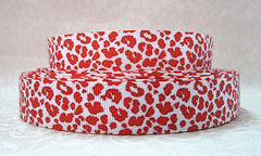 1 Yard 7/8 inch  - CLASSIC RED CHEETAH / LEOPARD OVER WHITE - STYLE 60020 Printed Grosgrain Ribbon