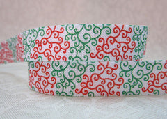 1 Yard -  5/8 inch - RED AND GREEN SWIRLS - CHRISTMAS  - Fold Over Elastic FOE