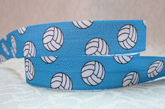 1 Yard -  5/8 inch - VOLLEYBALLS ON AQUA - SPORTS  -  Volleyball Fold Over Elastic FOE