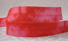 1 Yard -  5/8 inch - MIX OF RED and PINK  - Fold Over Elastic FOE