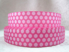 1 yard     7/8 inch LIGHT PINK DOTS ON PINK - STYLE 401   -  Printed Grosgrain Ribbon