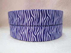 1 Yard 7/8 inch ZEBRA  - WHITE AND PURPLE - ANIMAL PRINT -  Printed Grosgrain Ribbon
