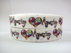 1 Yard 7/8 inch AUTISM HEART AMAZING PUZZLE  - Printed Grosgrain Ribbon