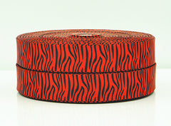 1 Yard 7/8 inch BLACK ZEBRA OVER RED - STYLE 7001 -   Printed Grosgrain Ribbon