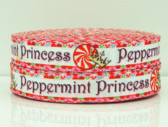 1 Yard 7/8 inch - CHRISTMAS  - PEPPERMINT PRINCESS -  Printed Grosgrain Ribbon