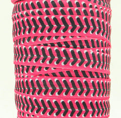 1 Yard -  5/8 inch - Black Baseball Laces on Pink / Softball - Sports  - Fold Over Elastic FOE