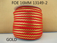 1 Yard -  5/8 inch - GOLD CHEVRON HORIZONTAL ON RED - Fold Over Elastic FOE