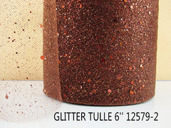 6 INCH WIDTH - GLITTER SPARKLE TULLE - BROWN - BY THE YARD