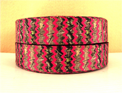 1 Yard 1 inch - HOT PINK CHEVRON OVER CAMOUFLAGE - COUNTRY - Printed Grosgrain Ribbon