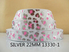 1 Yard 7/8 inch SILVER WITH PINK CHEETAH LEOPARD ON WHITE - ANIMAL PRINT - 13330-1 -  Printed Grosgrain Ribbon