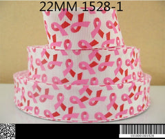 1 Yard 7/8 inch BREAST CANCER Awareness Ribbons on White  - Printed Grosgrain Ribbon